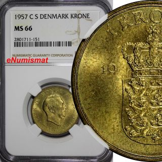 Denmark Frederik Ix Aluminum - Bronze 1957 Cs 1 Krone Ngc Ms66 Top Grade Km 837.  2 photo