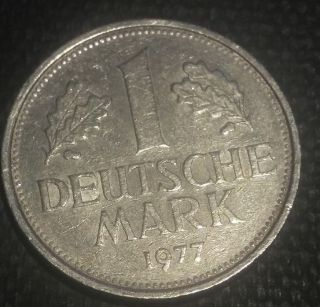 Germany 1977 F - Stuttgart 1 Mark Obv: Eagle photo