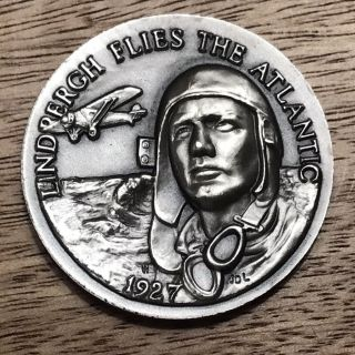 1927.  Lindbergh Flies The Atlantic.  1,  Oz Longines Sterling Silver Medal Coin. photo