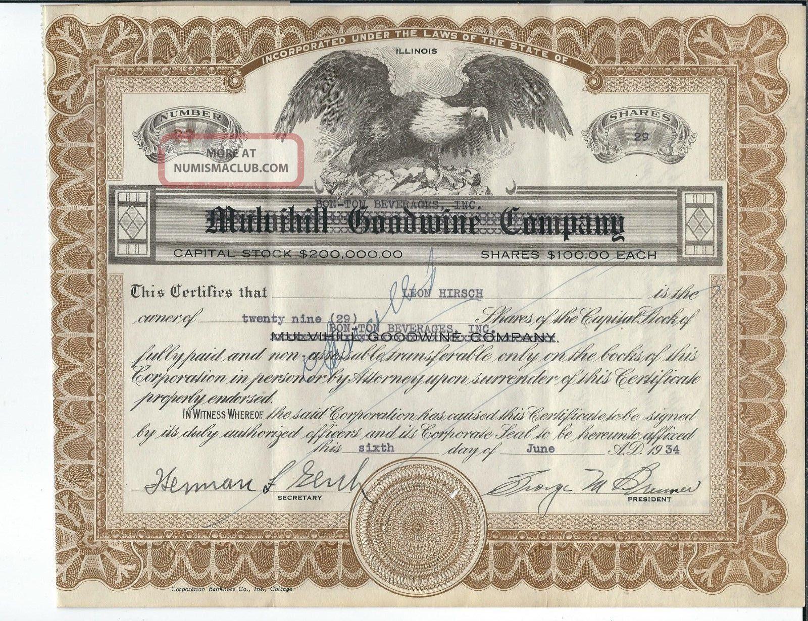 Mf - 029 - Bon - Ton Beverages,  Stock Certificate,  1934,  Waukesha,  Wisconsin Canceld Stocks & Bonds, Scripophily photo
