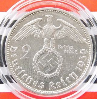 German Coin 2 Mark Reichsmark 1939 E Swastika Hindenburg Silver 3rd Nazi Ww2 Rar photo