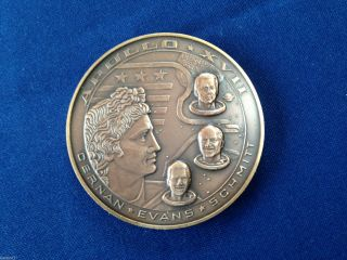 1972 Apollo 17 Farewell Mission To The Moon Bronze Art Medal E4378 photo