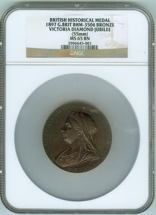 Gorgeous Gem Ngc Ms65bn 1897 Bronze British Medal Victoria Jubilee 55 Mm photo