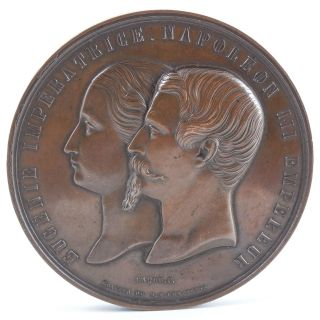 French Napoleon Iii & Empress Eugenie 19th Cent Solid Bronze Medal — 1850s photo