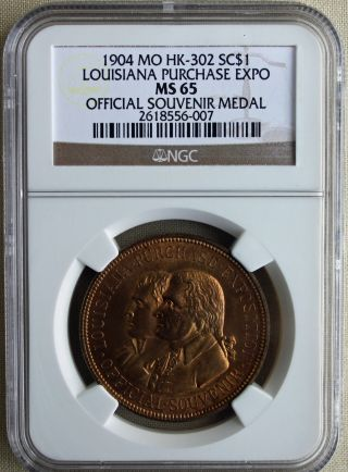 1904 Louisiana Purchase Expo So Called Dollar Souvenir Medal Ngc Ms65 Hk - 302 R photo
