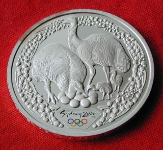 2000 Sydney Summer Olympics.  999 Silver Proof Coin - Emu photo