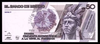 Banco De Mexico 50 Nuevos Pesos 31 - Jul - 1992 Series P,  P - 97.  Unc.  C3258031 photo