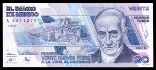 El Banco De Mexico 20 Nuevos Pesos 31 - Jul - 1992,  Series K.  P - 96.  Unc. photo