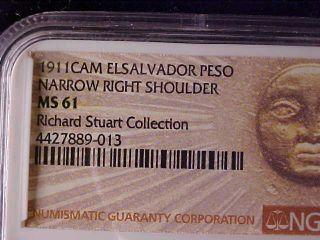 El Salvador One Peso 1911 Narrow Shoulder Ngc Ms 61,  Ex - Richard Stuart photo