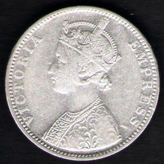 British India 1892 Victoria Empress One Rupee Silver Key Date Rare photo