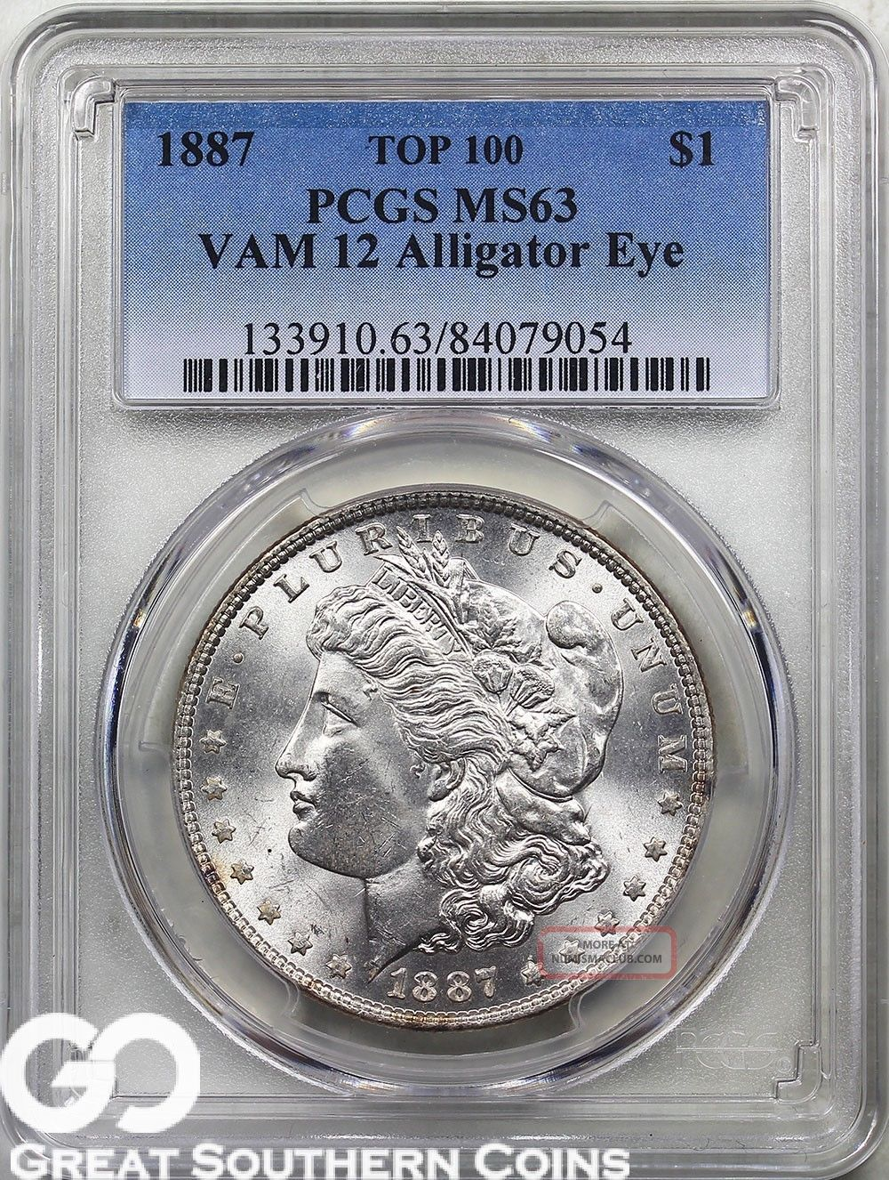 1887 Morgan Silver Dollar,  Vam - 12 Top - 100,  Pcgs Ms 63 Alligator Eye,  S/h Dollars photo