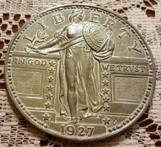 1927 Standing Liberty Silver Medal Big 3 Inch Round photo