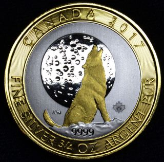 Canada 2017 3/4 Oz Ounce Canadian Silver Wolf Moon Coin 24k Gold Gilded,  Box photo