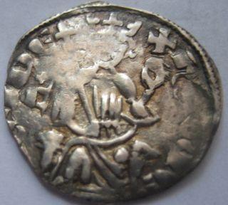 Cyprus Henry Ii 1314 - 1324 Silver 1/2 Groschen Rare Great Patina photo