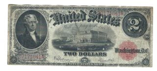1917 Series $2 Two Dollar Bill Large Size Banknote Red Seal Very Fine photo