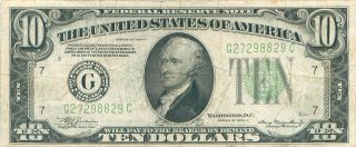 1934 Series A G/c (chicago) $10 Dollar Federal Reserve Note Bill Us Currency photo