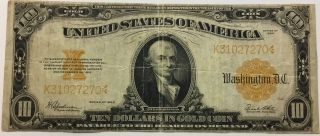 1922 Large $10 U.  S.  Gold Coin Certificate Note photo