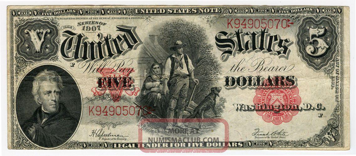 1907 Issue $5 Dollars United States
