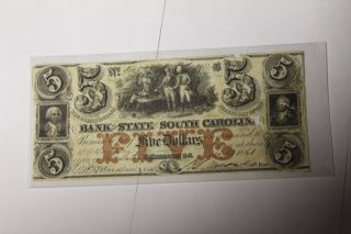 South Carolina - Bank Of The State Of Sc - $5.  00 - 1861 photo