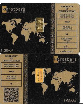 1 Gram Karatbars.  999 Fine Gold Bar W/serial (k1062) photo