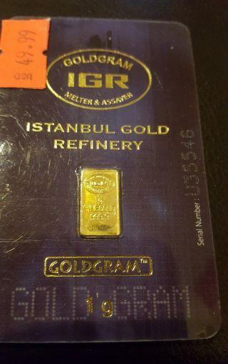 1 Gram Goldgram Istanbul Gold Refinery Igr Bar.  9999 Fine In Assay Card photo