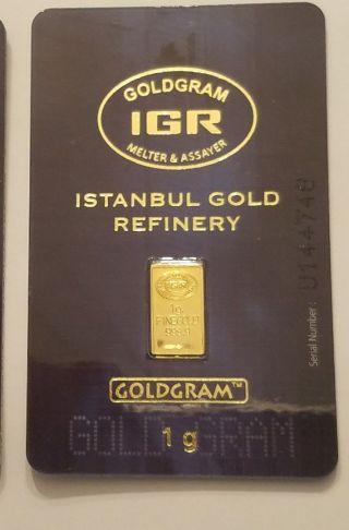 1 Gram Istanbul Gold Refinery (igr) Bar.  9999 Fine (in Assay) photo
