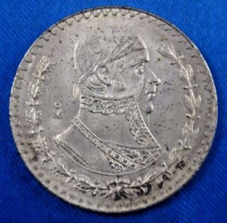1966 Mexico 1 Peso Silver Coin photo