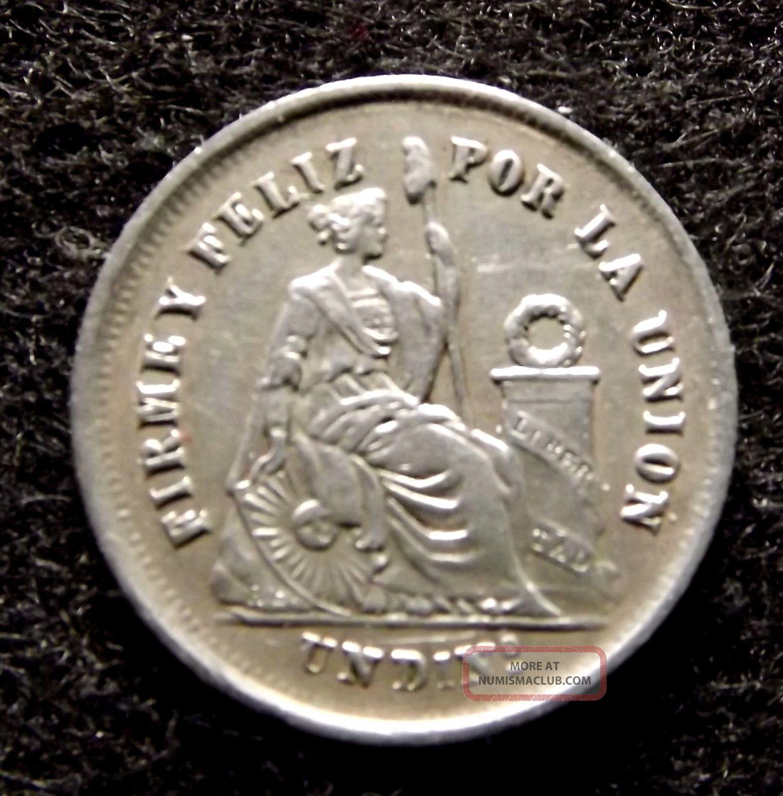 1866 Peru 1 Dinero Silver Coin -,  Fine Details,  Km 190 (847) South America photo