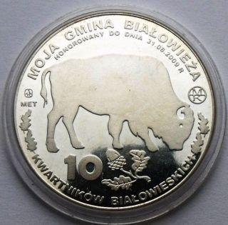 Poland BiaŁowieŻa 10 KwartnikÓw BiaŁowieskich 2009 Bison Aurochs Silvered Coin photo
