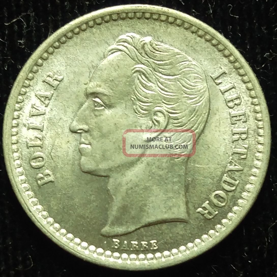 1945 Venezuela Silver 1/2 Bolivar Coin Unc 479 South America photo