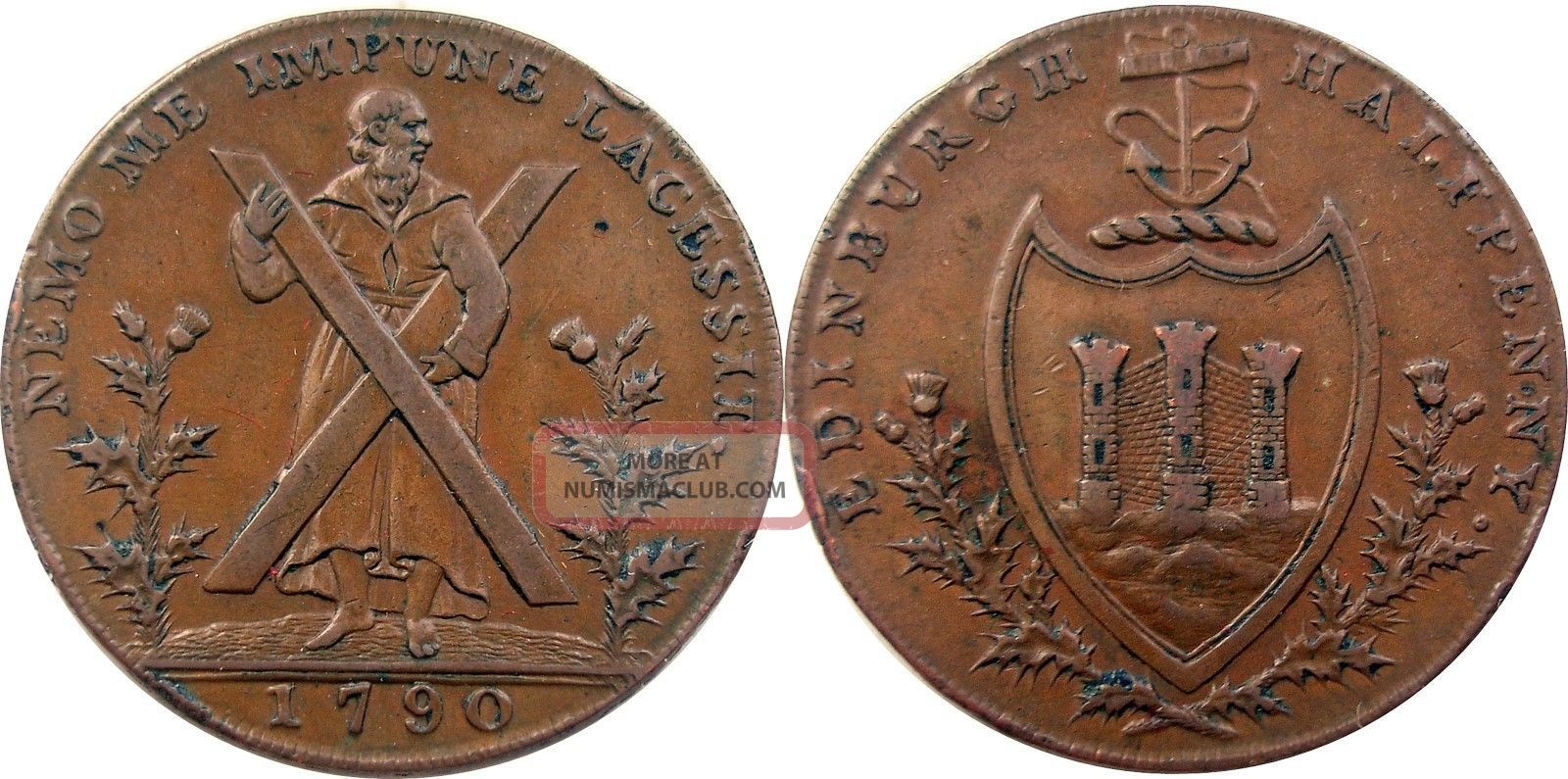 1790 Scottish Conder Token,  Lothian 24,  Ef,  Great Color And Exonumia photo