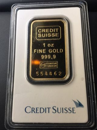 1 Troy Oz Credit Suisse Gold Bar.  9999 Fine In Assay photo