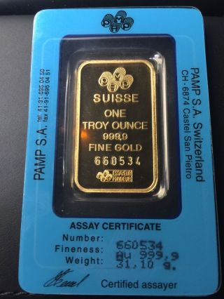 1 - Oz - Gold - Bar - Pamp - Suisse - Fortuna - 999 - 9 - Fine - In - - Assay 1 - Oz - Gold - Bar - Pam photo