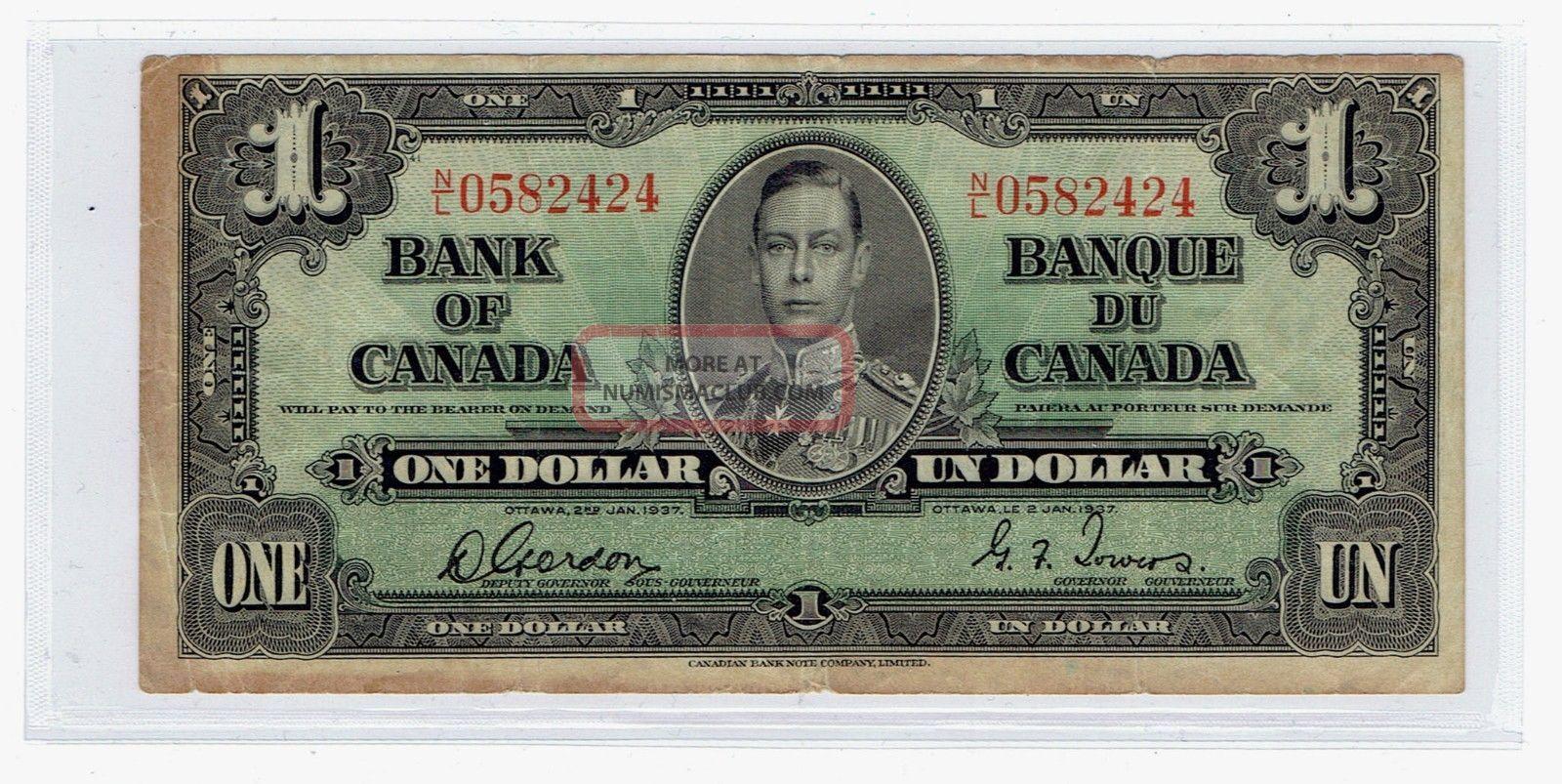 Bank Of Canada 1937 $1 One Dollar Canadian Money (1564)