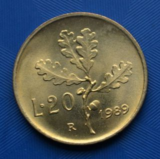 Italy 20 Lire (ramo Di Quercia) Coin.  Ef Plants (flora).  Women.  Random Ages. photo
