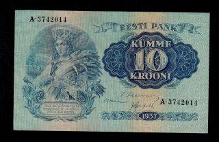 Estonia 10 Krooni 1937 A Pick 67 Au - Unc Banknote. photo