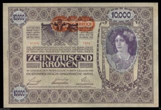 V307 Austria 10000 Kronen 1918 P 66 Second Edition Deutsch Österreich Unc photo