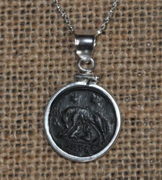 Romulus & Remus She Wolf Urbs Roma Authentic Coin 925 Sterling Silver Necklace photo
