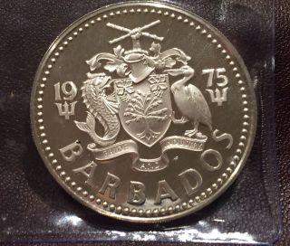 1975 Silver Barbados Five Dollar Coin Proof photo