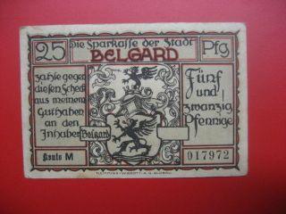 German Notgeld 1921 25 Pfennig Belgard/polish Bialogard photo
