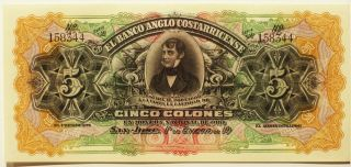 Colorful Unc 1900 ' S 5 Colones - Bank Of Costa Rica Brown Back Note photo
