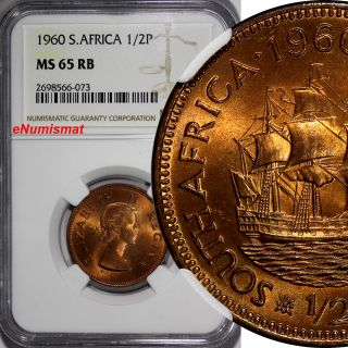 South Africa Elizabeth Ii Bronze 1960 1/2 Penny Ngc Ms65 Rb Bu Red Toned Km 45 photo