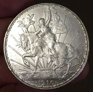 Mexico 1910 $1 Caballito Horse & Rider Comm.  Silver Coin,  See Images photo