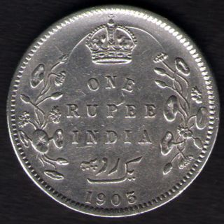 British India - 1903 - Edward Vii One Rupee Silver X - Fine Coin Ex - Rare Date photo