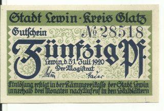 Germany,  Lewin / Lewin Klodzki 1920 Notgeld 50 Pfg Unc 28518 photo