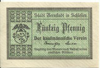 Germany,  Bernstadt/bierutÓw Kaufmännischer Verein Notgeld 50 Pfg.  Nd (1917) Unc W photo