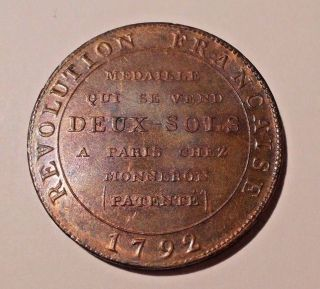 1792 France Medal To Commemorate The French Revolution ' Freedom Under The Law ' photo