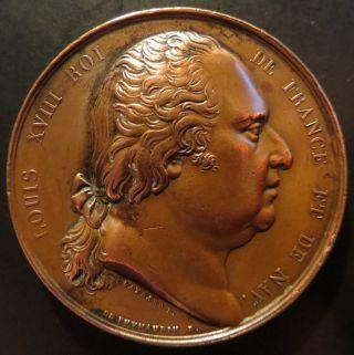 Medal Louis Xviii Ville D ' Amiens Fête De Saint - Louis 1824 By Gayrard 42mm photo
