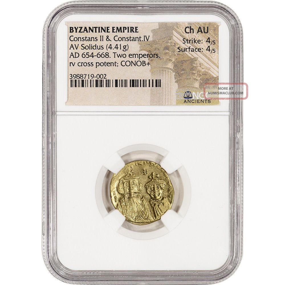 Ad 654 - 668 Byzantine Empire Av Solidus Ancient Gold Coin - Ngc Ch Au Coins: Ancient photo