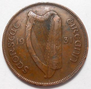 1931 Ireland Penny F,  Irish State Scarce Harp Hen & Chicks Bronze Coin photo